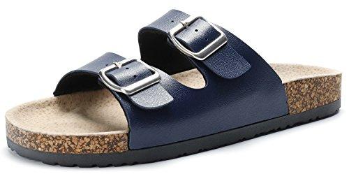 SANDALUP Damen & Herren Kork Verstellbare Pantoletten Sommer Sandalen Blau 44