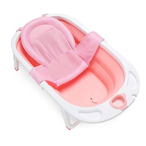 Fascol Vaschetta Per Neonati, Pieghevole Vaschetta Bagnetto per Bimbo 0-36 mesi vasca da viaggio con Supporto Sedile e Tappo di Scarico, Rose