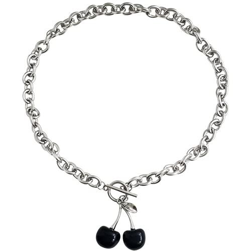 Collar personalizado, collar pendiente lindo, acero de titanio, colgante de cerezo creativo, adecuado para todos los sentados