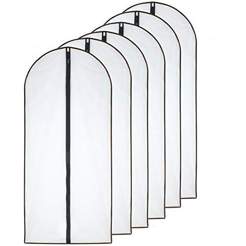 HomeClean Bolsas para Ropa a Prueba de polillas 60 x 153cm Bolsas con Transpirable Lateral Negra Transparente para la Ropa de Vestido de Noche de Boda Mucho más Larga Paquete de 6