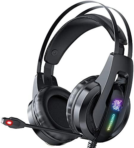 Galopar K16 Stereo Gaming Headset para PS4/5 PC Xbox One, Auriculares con cancelación de ruido con micrófono, sonido envolvente 7.1,orejeras de memoria suave con luz LED.