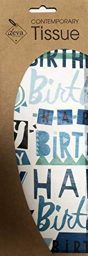 Verjaardag Glitz Glitter BlueTissue Gedrukt Patroon Weefsel Inpakpapier Deva Ontwerpen Luxe 4 Vellen 50 x 70 cm