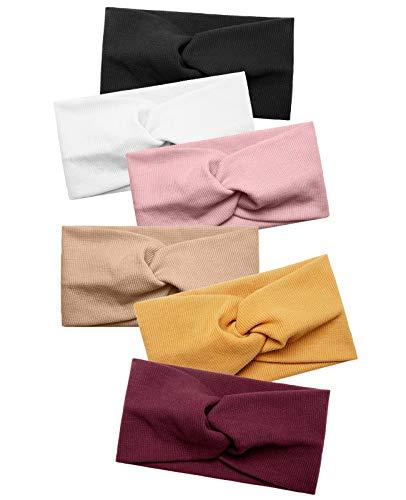 Damen Stirnbänder Elastisch Stirnband Breit Verdreht für Mädchen Haarbänder Sport Yoga Haar Zubehör 6 Stück (Set 5)