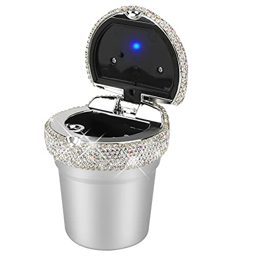 Bling Diamond Car Ashtray with Lid Smell Proof, Globalstore Car Cigarette Ashtray with LED Light, Smokeless Ashtray for Car Cup Holder, Home and Office (Sliver)
