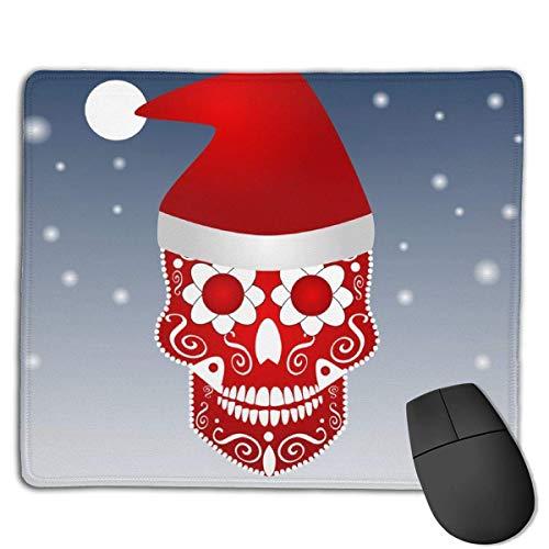 Mousepad Christmas Skull Icon Ornament Weihnachtsmütze Extended Mouse Pad Rutschfeste Gummibasis mit genähten Kanten