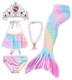 Conjunto de 5 Piezas Cola de Sirena para Nadar para niñas Traje de baño Sirena Incluyendo Coronas y Collares (HGGB15,130)