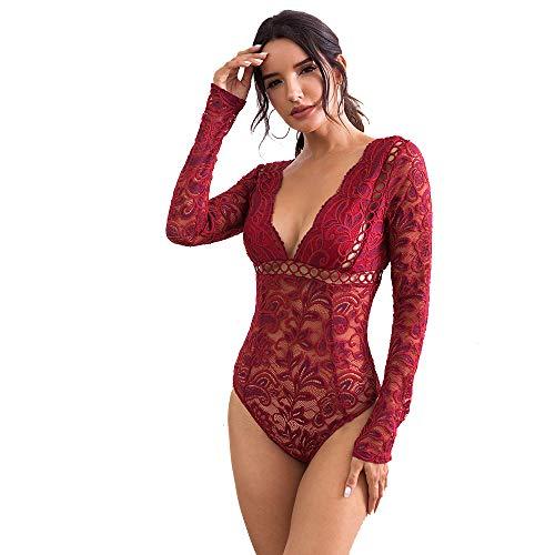 NBBNYJ Body Donna Sexy Estivi Pizzo V Collo Manica Lunga Bodysuit Blusa Camicie Top Tuta Abbigliamento-Bianca (Vino Rosso, M)