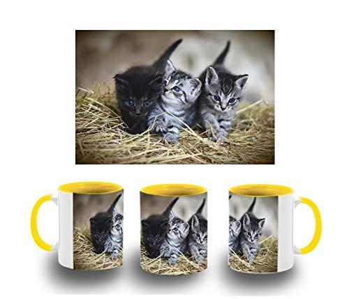 MERCHANDMANIA Taza Amarilla Gatitos Muy Monos Color mug