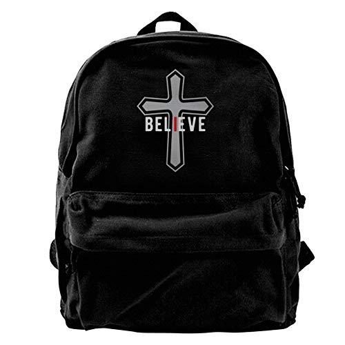 I Believe Cross Christian Canvas Backpack School Laptop Bag for Women & Men Travel Bookbag