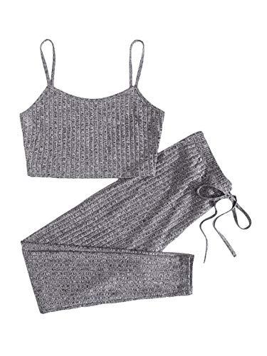 DIDK - Conjunto de 2 piezas para mujer, top corto y legging, conjunto de pantalones delgados y tank Cami de deporte, yoga, gimnasio, fitness, jogging gris M