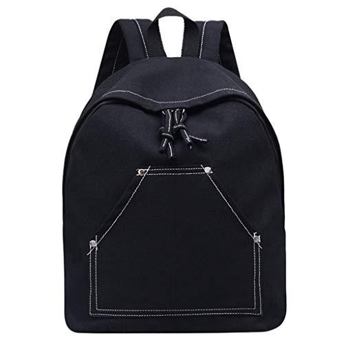 Rucksack Mädchen Damen, VECOLE Backpack Einfacher und Stilvoller Einfarbiger Canvas-Rucksack Große Kapazität Reisetasche Schultasche Campus Studententasche für Universität/Arbeit/Reise(Schwarz)