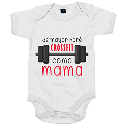Body bebé De mayor haré Crossfit como mamá - Blanco, 6-12 meses