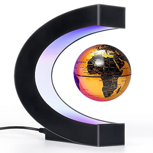 Magnetic Levitation Floating Globe with LED Light, Cool Gadgets Decor, Fixture Floating Globes & Shade, Cool Tech Gifts for Men/Father/Husband/Boyfriend/Kids/Boss, Great gift idea (golden)
