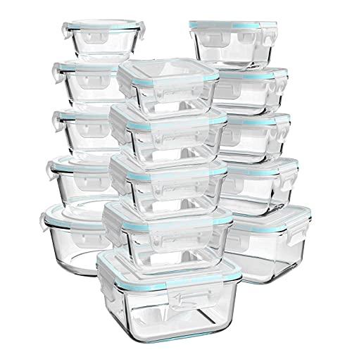 Luvan Pack 15 Recipientes de Cristal Para Alimentos,Recipientes Herméticos de Vidrio, Sin BPA y a Prueba de Fugas (15 Tapas y 15 Recipientes), Azul