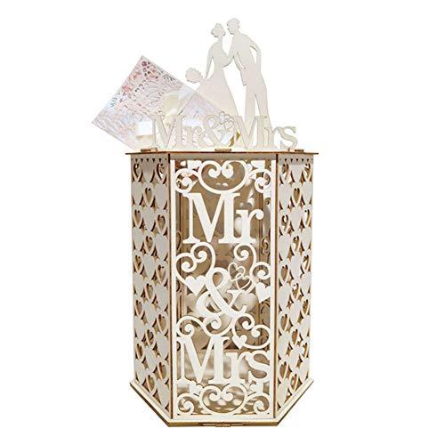 WERTAZ Hochzeitskartenkiste aus Holz Geschenkbox DIY Holz Hochzeit Karte Box für Hochzeit Brautparty Party Dekorationen