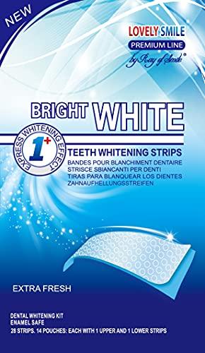 Lovely Smile - 28 Teeth Whitening Strips - Sensitivity Free - Express - Whiter Teeth in 1 Hour - Enamel Safe White Strips by Ray of Smile