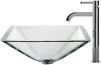 Kraus C-GVS-901-19mm-1007CH Clear Aquamarine Glass Vessel Sink and Ramus Faucet Chrome