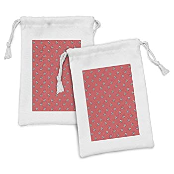 Ambesonne Abstract Art Fabric Pouch Set of 2 Tattoo Style Crystal Like Rays Children Hipster Geometric Illustration Small Drawstring Bag for Toiletries Masks and Favors 9  x 6  Dark Coral White