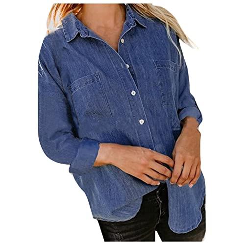 Camisa jeans feminina de manga comprida com botão e lapela casual alta e baixa, Azul, XXG