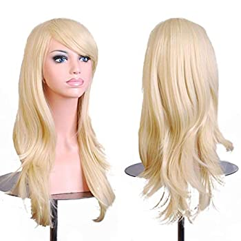 28  Women s Hair Wig New Fashion Long Big Wavy Hair Heat Resistant Wig for Cosplay Party Costume  Light Blonde