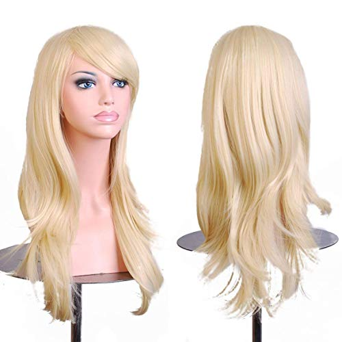 "28 ""Women's Hair Wig New Fashion Long Big Wavy Hair Heat Resistant Wig for Cosplay Party Costume (Light Blonde)"