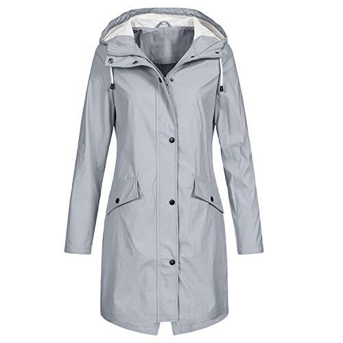 Pianshanzi Chubasquero para mujer, ligero, impermeable, transpirable, cortavientos, impermeable, con capucha, chaqueta softshell, cortavientos, resistente al agua y al viento., gris, XS