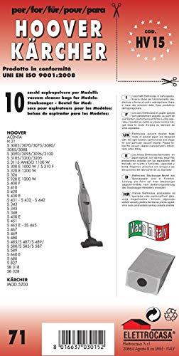 HV 15 sacchetti per scopa elettrica confezione da 10 sacchi carta