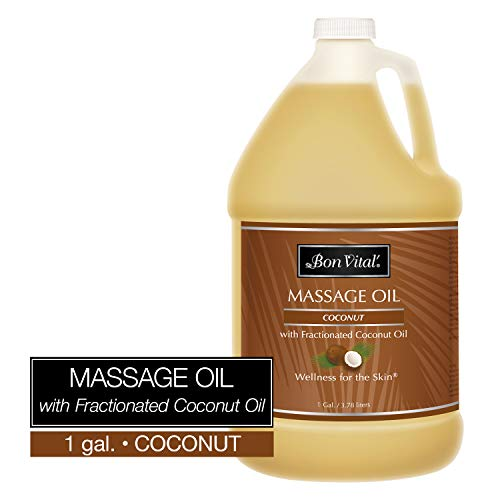 Bon Vital' Coconut Massage Oil Made with 100% Pure Fractionated Coconut Oil to Repair Dry Skin, Used by Massage Therapists and at-Home Use for Therapeutic Massages and Relaxation, 8 Ounce Pump Bottle