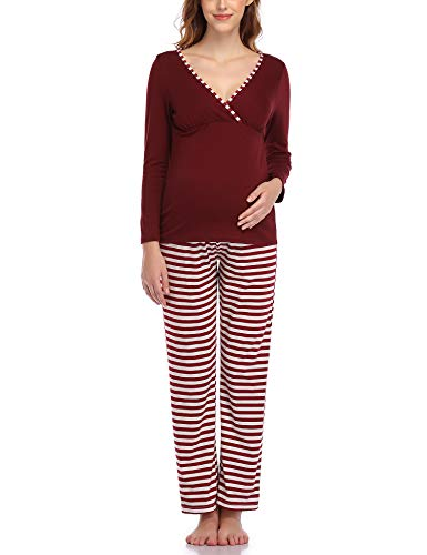 Aranmei Pijama de Lactancia Invierno Ropa Premamá Embarazadas Manga Larga Conjunto de Pijama Algodón Mujer Maternidad Hospital Suave y Comodo