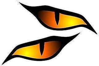 Paar Böse Augen Sticker Orange Vinyl Auto Motorrad Helm Aufkleber Je 70x30mm