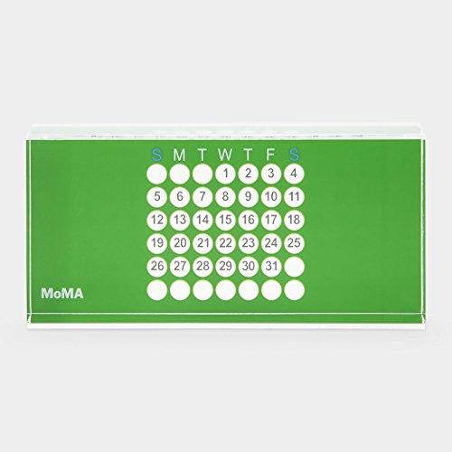 MoMA ewiger Kalender Design Tischkalender, Acryl, grün