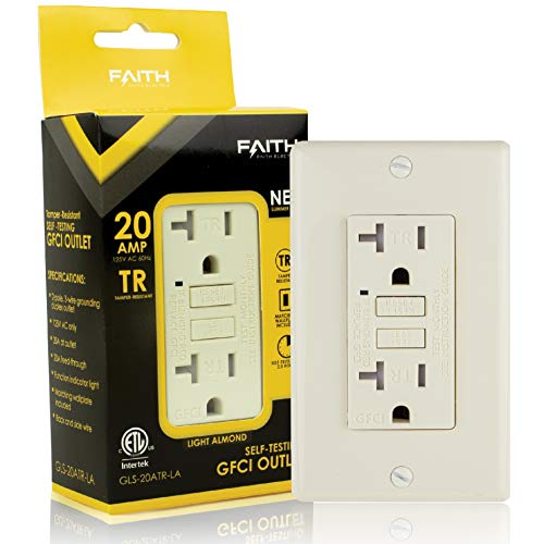 Faith 20A GFCI Outlet, Tamper-Resistant GFI Duplex Receptacles with LED Indicator, Self-Test Ground Fault Circuit Interrupter with Wall Plate, ETL Listed, Light Almond