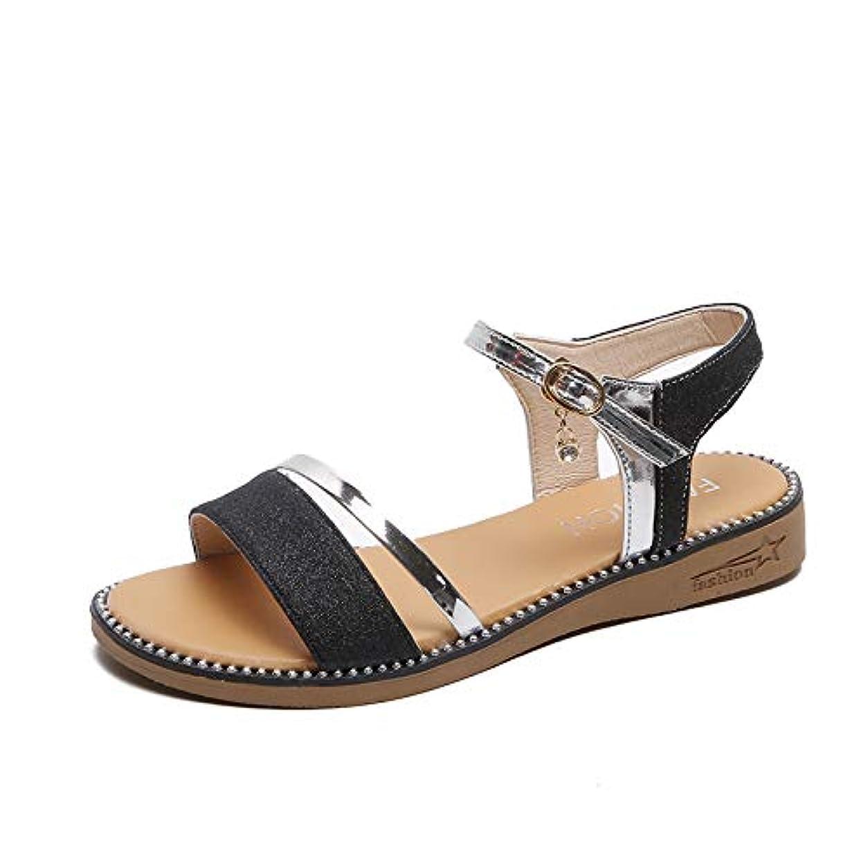 タイプ神顔料[フェイミー] ローヒール サンダル ウェッジ ソール ストラップ 付き 履きやすい 歩きやすい 黒 22.0cm ~ 24.5cm レディース