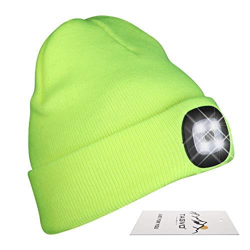 TAGVO USB Recargable LED Ligero Gorros, iluminación y destellando de Linternas Frontales, fácil instalación Quick Release Headlamp Beanie, Unisex Winter Warmer Knit Cap Hat