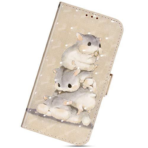 Urhause Custodia Compatibile con Nokia 7.1 Cover KunyFond 3D Dipinto Portafoglio Flip Pelle Pu Leather Wallet Slot per schede 360 Gradi Modello Magnetico Supporto Bumper,Tre scoiattoli