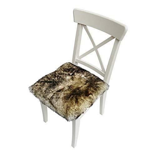 Hollert Lammfell - SITZKISSEN/STUHLAUFLAGE 2. Wahl 40 cm x 40 cm Sitzpolster aus Merino Schaffell Farbe Stracciatella