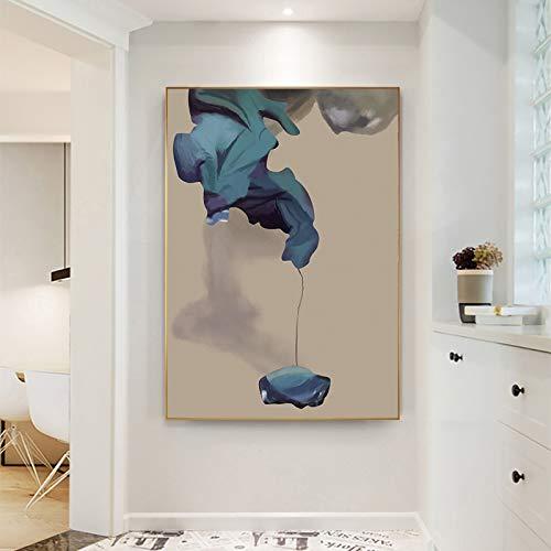 YHZSML Moderne Blaue Blume wandkunst leinwand Poster und drucke große größe Bilder Kunst malerei für Wohnzimmer wohnkultur ungerahmt 50x70cm