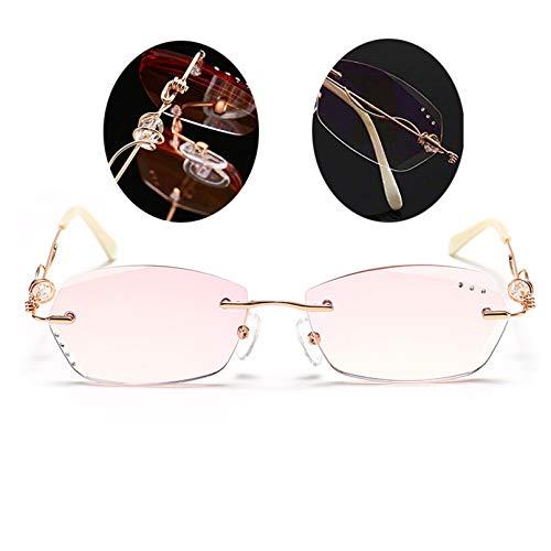 Modische Damen Pink Lesebrille, Blaulicht blockierend Anti-Augen-Belastung Kopfschmerzen & UV-Blendung Praktisch Komfortabel Rahmenloser Diamant Geschenkauswahl1.0 1.5 2.0 2.5 3.0 3.5 4.0 (2.0)