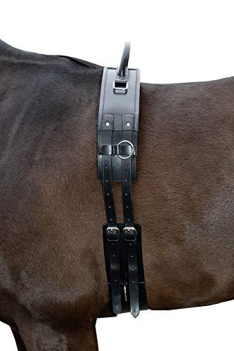 HKM Longiergurt mit Haltegriff aus Leder, schwarz, Vollblut/Warmblut