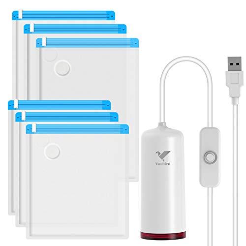 vacbird Las Bolsas de vacío con Bomba eléctrica USB, 6 Piezas (3/36...