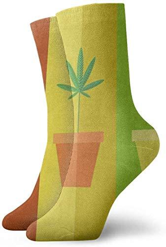 BEDKKJY Calzini dell\'equipaggio Cartone animato Coltivazione di marijuana Pentola d\'ispirazione Calza sportiva da donna Calza natalizia Liquidazione per uomo