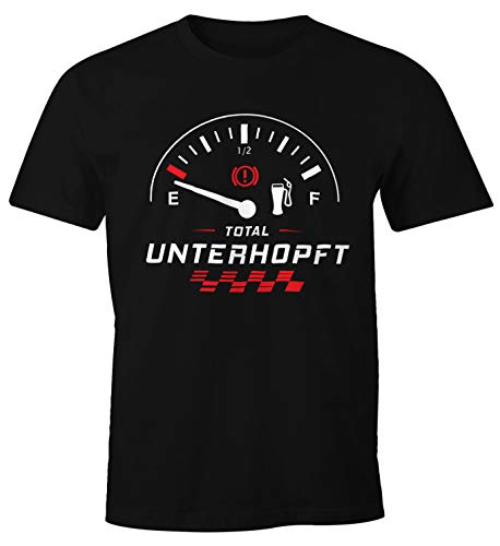 MoonWorks Herren T-Shirt Total Unterhopft Bier Tankanzeige Tacho Fun-Shirt schwarz M