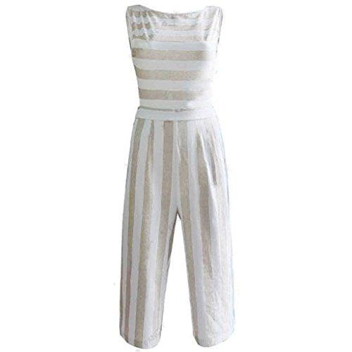 Longra casual jumpsuit, damescombinatie, gestreept, zonder mouwen, brede broek, casual, bodysuit, ronde hals, zomer, strand, chic, blouse, dames, bohemian, top, modieus