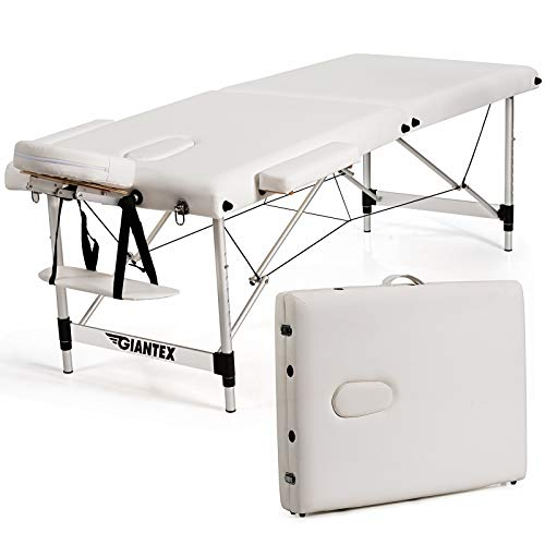 Giantex Portable Massage Table 84inch, Folding Massage Bed Aluminium Frame, Height Adjustable, 2 Fold Professional Facial Salon Tattoo Bed with Face Cradle Armrests Headrest Carrying Bag (White)