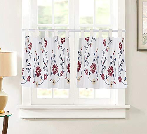 Juego de 2 cortinas de cocina con pestaña superior, cortina, cortina corta para cocina, gabinete de cocina, caja de zapatos, media ventana, cenefa, 90 x 45 cm, diseño de flores rojas