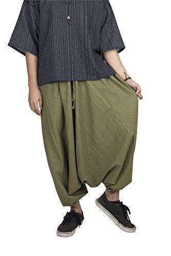 LOFBAZ Yoga Harem Pants for Men Women Unisex Boho Hippie Clothing Baggy Hammer Parachute Joggers Drop Crotch Genie Mens Clothes Solid Dark Green XL