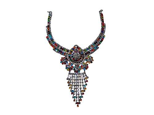 Conjunto Joyas Priyanka Multicolor Brillante Plateado con brazaletes y bindis joyería India Accesorio
