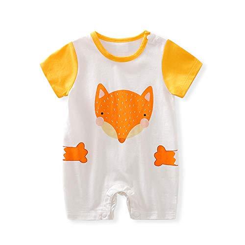 Mamelucos de bebé para niños y niñas recién nacidos de manga corta de algodón mono de zorro amarillo 12-24 meses/90