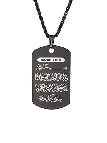 Gök-Türk Collar künye para Hombre Unisex con Colgante Nazar ayeti Alá islámico Muslim DUA Oración de Corán Kuran Negro