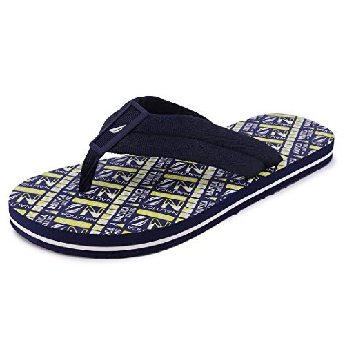 Nautica Men's Flip Flop Water Slippers Casual Beach Sandals-Huxley-Navy Lime-12